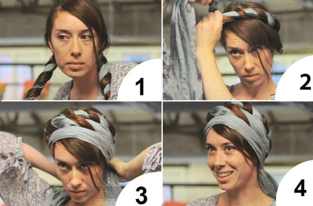 b829af74f10 Na zadní straně hlavy položte z šálu úzkou kazetu. Každý konec zabalí kolem  poloviny vlasů a sklopí žeton. Využijte kříže na čele a spojte uzel na  zadní ...