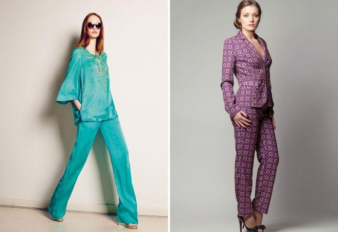 Γυναικεία κοστούμια παντελόνι από μετάξι 2017. Τα μοντέλα μεταξιού θα  αντικαταστήσουν ιδανικά ένα αυστηρό κλασικό. Οι σχεδιαστές προσφέρουν τόσο  ένα ... 4ec0dea4313