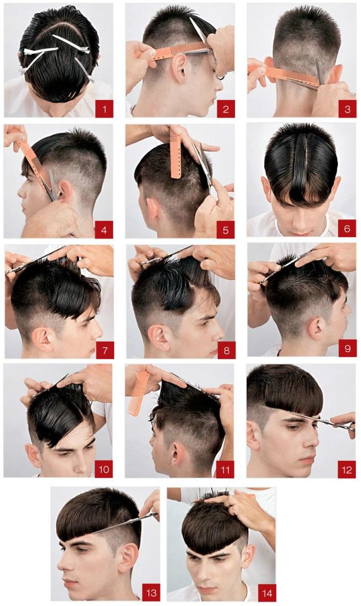 Этот вариант мужской стрижки с челкой прекрасно подходит обладателям мягких или же редких волос.