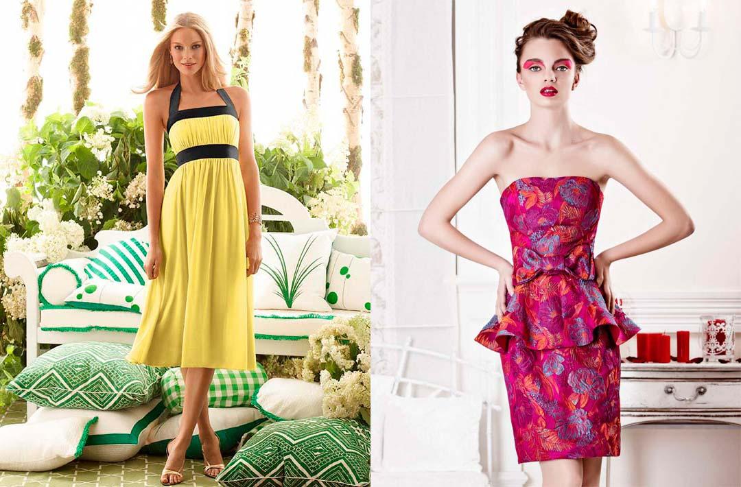 000ba591149 A zde jsou pestré varianty koktejlových šatů. Můžete si vybrat způsob  klasický styl s komplexní barvy a trendy světlé šaty s květinovou výšivkou.