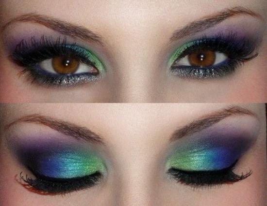 Fată Cu Păr Brun Cu Ochi Albaștri Machiaj De Seară Cu Nuanțe