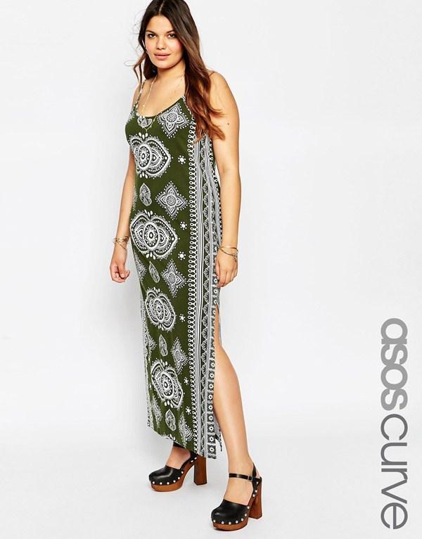 2ea6c0e2b01 Зеленый модный сарафан 2016 для полных женщин с платочным принтом — ASOS  CURVE