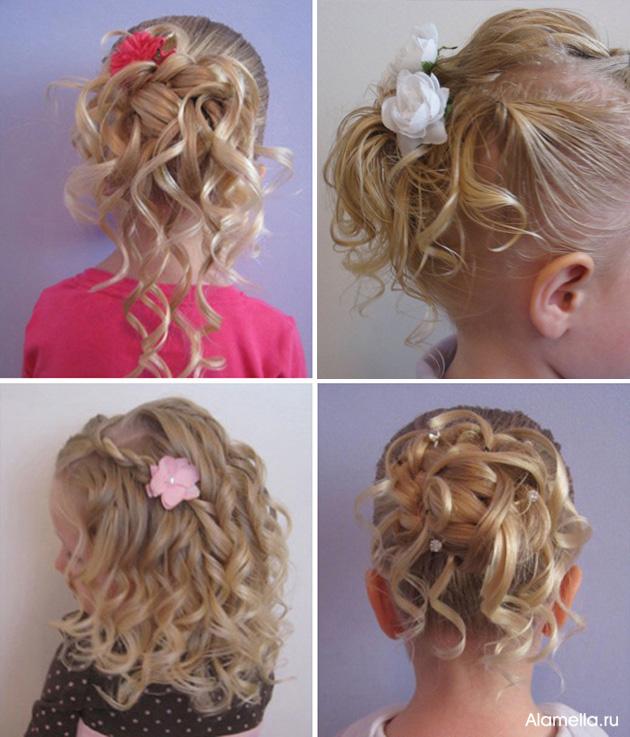 Прически девочкам на праздник на средние волосы
