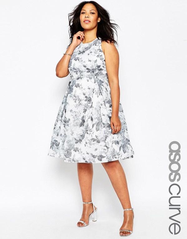 Květinové šaty v plném oblečení pro obézní ženy - ASOS CURVE 237b31cdb0