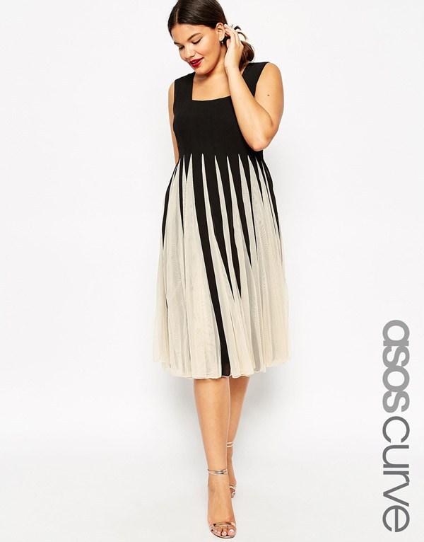 Fekete és fehér divatos szandressz 2016 az elhízott nők számára teljes  szoknya - ASOS CURVE eea12b5a74
