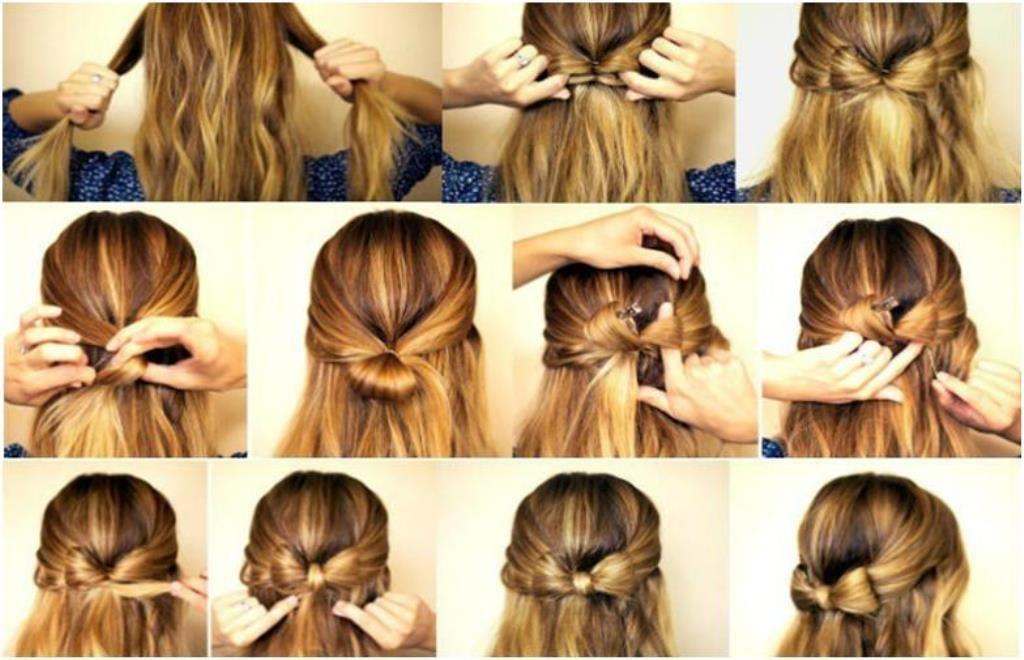 Как сделать причёску бант из волос на хвосте