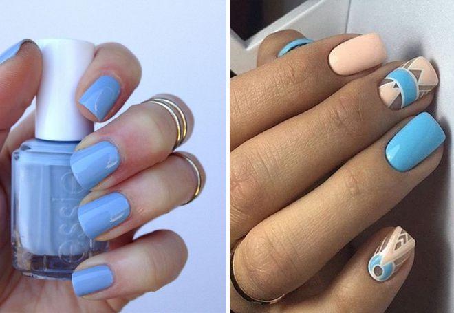 c00d93c08c6 Особенно актуален голубой модный маникюр в весенне-летний период. Одним из  самых популярных по-прежнему остается цветочный рисунок.
