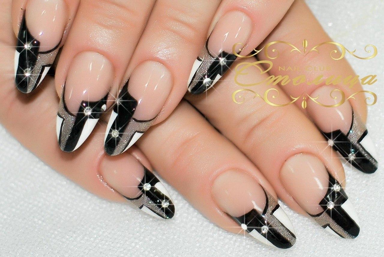 нарощенных черно-белые рисунки ногтей