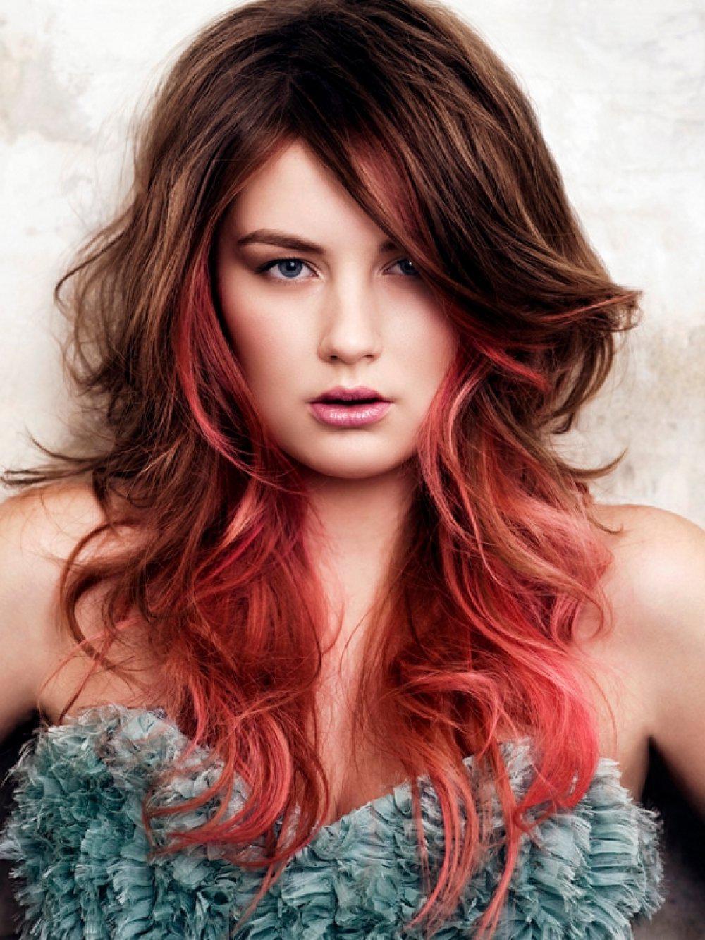 Покраска волос двух цветов на длинные волосы фото